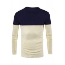 Winter Popular Round Neck Long Sleeve Knitted Two-Tone Pullover Sweater
