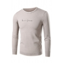 Mens New Stylish Heartbeat Letter Printed Round Neck Long Sleeve Contrast Trim Khaki Sweater