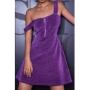 Womens Popular Plain Purple Glitter Sleeveless Zipper Front Mini A-Line Tank Dress for Club
