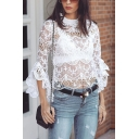 Womens Stylish Plain White Hollow Out Bell Half Sleeve Sheer Lace Trim Sexy Shirt Top