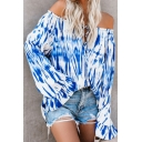Womens Funny Tie Dye Flared Long Sleeve Tied Off the Shoulder Oversized Chic T-Shirt Top