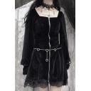 Edgy Girls Plain Black Gothic Zip Placket Lace Patch Hem Oversized Mini Velvet Lolita Dress