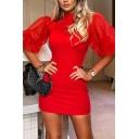 Womens New Elegant Plain Mesh Panel Puff Half Sleeve Mini Fitted Party Dress