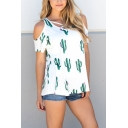 White Cute Cactus Print Cold Shoulder Short Sleeve Cross Front Round Neck Leisure T-Shirt