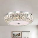 Modern Round Flush Mount Light Clear Crystal Shade 3/4 Lights 16