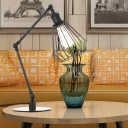 1 Bulb Bedroom Table Lighting Industrial Stylish Black/Brass Finish Table Lamp with Diamond Cage Metal Shade