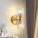 2 Bulbs Living Room Wall Light Modern Style Gold Finish Wall Sconce Fixture with Tapered Clear Crystal Shade