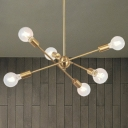 Mid-Century Sputnik Chandelier Lighting Metal 6/8 Lights Living Room Pendant Lamp with Bare Bulb in Brass/Chrome Finish