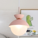 1 Light Dining Room Hanging Light Macaron Gray/Blue/Pink Pendant Light with Globe Frosted Glass Shade