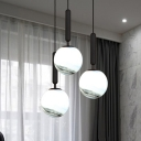 Ball White Glass Hanging Lamp Kit Modern 1 Head Brass/Black/Gold Pendant Ceiling Light for Bedroom