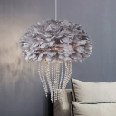 2/3 Bulbs Jellyfish Pendant Light Grey/White Feather Shade Nordic Hanging Ceiling Light with Crystal Accents