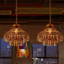 Bohemia Pendant Light with Dome Crystal Shade 1/3 Lights Antique Copper Suspension Light