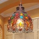 Iron Dome Suspension Lamp 1 Light Weathered Copper Ceiling Pendant Light with Crystal Accents