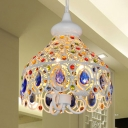 White Dome Hanging Ceiling Light Bohemia 3 Lights Metallic Pendant Lighting with Blue Crystal Accents