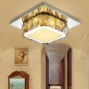 Clear/Amber Crystal Square Flush Mount Lamp Modern LED Corridor Flush-Mount Light Fixture in Neutral/Warm/White/3 Color