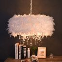 Feather Drum Shade Hanging Chandelier Modern 5 Lights Suspension Light in White for Living Room