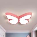 White/Pink/Blue Butterfly Flush Mount Lamp Cartoon Acrylic Flush Mount Led Light in Warm/White Light, 19.5