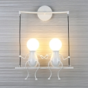 Black/White/Red Little People Sconce Light Metal Kids 2 Lights Wall Lighting Fixture for Living Room