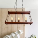 Wood Trapezoid Island Pendant Light Traditional 3/5 Lights Dining Room Hanging Lamp in Brown