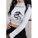 Basic White Long Sleeve High Neck Wire Dragon Patterned Slim Fit Crop T Shirt for Women