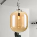 Modern Cylinder Pendant Lighting Amber/Smoke Gray Glass 1 Head Living Room Hanging Lamp Kit