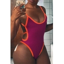 Female Sexy Street Sleeveless Open Back Cut Out Contrast Piped Fitted Bodysuit in Red