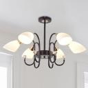 Beveled Chandelier Light Rustic Frosted Glass 6/8/10 Lights Black Hanging Lamp Kit for Living Room