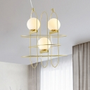 Globe Chandelier Light Simple Style White Glass 3 Heads Gold Hanging Lamp Kit with Crossed Oval Frame Design