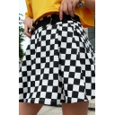Cute Street Women's High Waisted Buckle Belted Checkered Print Flared Pleated Short A-Line Skirt in Black