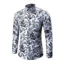 Mens Classic Floral Printed Long Sleeve Single Breasted Slim White Thin Shirt