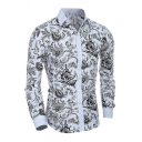 Mens Classic Tribal Pattern Print Long Sleeve Button Down Slim White Shirt