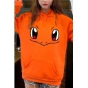 Lovely Cartoon Face Print Long Sleeve Pouch Pocket Drawstring Hoodie for Girls