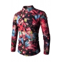 Mens Funny Red Starry Sky Geometric Pattern Long Sleeve Single Breasted Fitted Shirt