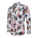 Mens Stylish Pineapple Print Long Sleeve Button Down Slim-Fit Holiday Beach Shirt