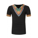 Mens African Style Printed Short Sleeve V-Neck Slim Fit Retro T-Shirt