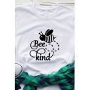 Womens Letter BEE KIND Printed Short Sleeve Casual Graphic T-Shirt