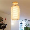Weave Cage Semi Flush Light with Inner Fabric Shade 1 Light Asian Semi Flush Mount Light for Entryway