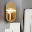 Minimalist Bare Bulb Wall Sconce 1 Light Metallic Wall Lamp in Gold with Oval Backplate