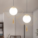 Sphere Pendant lamp Modern White Glass 1 Head Hanging Ceiling Light with Fan Gold Metal