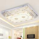 Rectangle Crystal Rod Ceiling Mount Light Modernism White LED Flush Light in 5/7 Color Light, 19.5