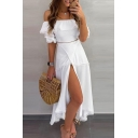 Elegant Ladies' Short Sleeve Off The Shoulder Lace Trim High Slit Front Long Flowy Dress in White