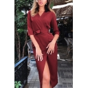 Women's Formal Three-Quarter Sleeve V-Neck Bow-Tie Waist Slit Front Plain Mid Bodycon Wrap Dress