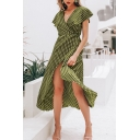 Elegant Girls' Ruffle Sleeve Deep V-Neck Polka Dot Print Split Front Bow Tie Waist Asymmetric Long Flowy Dress in Green
