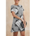 Ethnic Ladies' Short Sleeve Round Neck Floral Printed Short A-Line T Shirt Dress