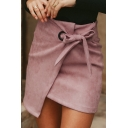 Dainty Ladies' High Waist Bow-Tied Asymmetric Corduroy Bodycon Wrap Micro Skirt in Pink