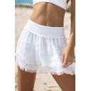 Beach Cute Girls' Elasticated-Waist Tiered Fringe-Trimmed Plain Pleated Mini A-Line Skirt