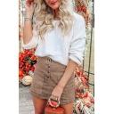 Pretty Fashion Ladies' High Waist Button Down Pocket Corduroy Plain Mini Fitted A-Line Skirt