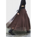 Trendy Women's Elasticated Waist Tiered Mesh Pleated Maxi A-Line Skirt in Coffee