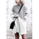 Fashion White&Grey Long Sleeve Mock Neck Pocket Contrasted Short Shift T Shirt Dress