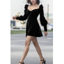 Girls' Sexy Goth Puff Sleeve Sweetheart Neck Button Embellished Velvet Short A-Line Dress in Black